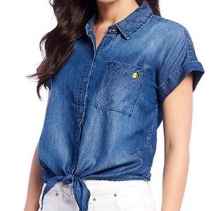 Jessica Simpson embroidered lemon button down top